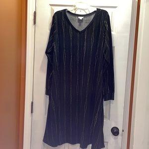 LuLaRoe Black, Gray & White Emily Swing Dress